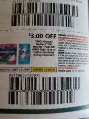 10 Coupons $3/2 Always Radiant Or Infinity Pads Or Pure Pads 10ct+ (Excludes Always Discreet) Exp.12/28/19