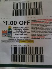 10 Coupons $1/1 Vicks DayQuil or NyQuil Product (Excludes 8ct DayQuil & NyQuil) Exp.12/28/19
