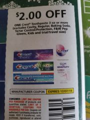10 Coupons $2/1 Crest Toothpaste 3oz+ (Excludes Cavity, Regular, Baking Soda, Tarter Control/Protection, F&W Pep Gleem, Kids) Exp.12/7/19