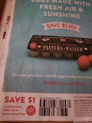 10 Coupons $1/1 Vital Farms Pasture-Raised Eggs Exp.3/30/20