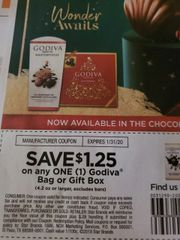 10 Coupons $1.25/1 Godiva Bag or Gift Box (4.2oz+ Excludes Bars) Exp.1/31/20