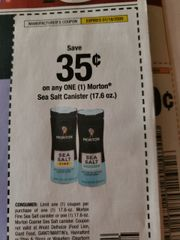 10 Coupons $.35/1 Morton Sea Salt Canister (17.6oz) Exp.1/18/20