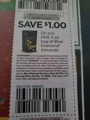 10 Coupons $1/1 Blue Diamond Almonds 5oz Bag Exp.1/26/20