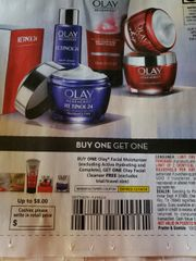 10 Coupons Buy (1) Olay Facial Moisturizer (Excluding Active Hydrating and Complete), Get (1) Olay Facial Cleanser FREE Exp.12/14/19