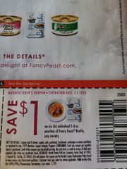 10 Coupons $1/6 Fancy Feast broths Individual 1.4oz Pouches Exp.2/1/20