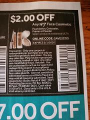 10 Coupons $2/1 No7 Face Cosmetic Exp.3/1/20