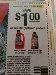 10 Coupons $1/1 Drano Product Exp.1/25/20