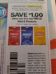 10 Coupons $1/2 Halls Products (10ct+) Exp.1/25/20