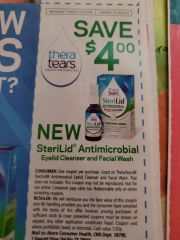 10 Coupons $4/1 TherTears SteriLid Antimicrobial Eyelid Cleanser and Facial Wash Exp.3/14/20