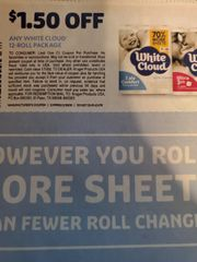10 Coupons $1.50/1 White CLoud 12-Roll Package Exp.2/29/20