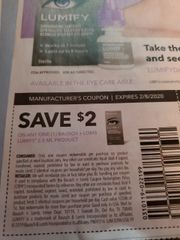 10 Coupons $2/1 Bausch + Lomb Lumify 2.5mL Product Exp.2/8/20