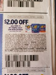 10 Coupons $2/1 All Mighty Pacs Unit Dose Product Exp.1/26/20