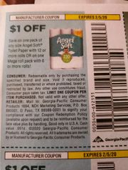 10 Coupons $1/1 Angel Soft Toilet Paper with 12+ Rolls Or (1) Mega Roll Pack w/ 6+ Rolls Exp.2/5/20