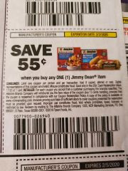 10 Coupons $.55/1 Jimmy Dean Item Exp.2/2/20