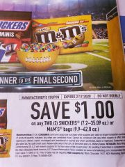 10 Coupons $1/2 Snickers (7.2oz-35.09oz) Or M&M's Bags (9.9oz-42.0oz) Exp.2/17/20