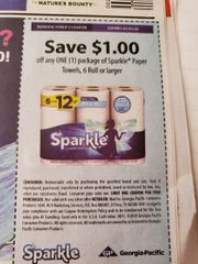 10 Coupons $1/1 Sparkle Paper Towels, 6 Rolls+ Exp.2/5/20