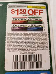 10 Coupons $1.50/1 Excedrin Product Exp.3/1/20