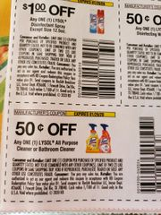 10 Coupons $.50/1 Lysol All Purpose Cleaner or Bathroom Cleaner Exp.1/29/20