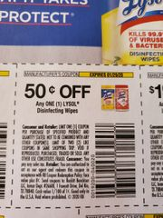 10 Coupons $.50/1 Lysol Disinfecting wipes Exp.1/29/20