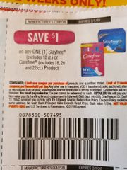 10 Coupons $1/1 Stayfree (Excludes 10ct) Or Carefree (Excludes 18, 20 and 22ct) Product Exp.2/1/20