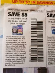 10 Coupons $5/1 Blue Dry Dog or Cat Food (5lbs+) Exp.2/16/20