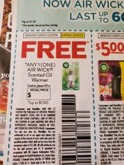 10 Coupons FREE Air Wick Scented Oil Warmer (Up To $1.50) Exp.2/2/20