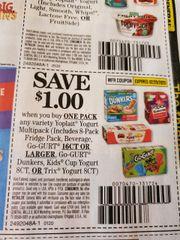 10 Coupons $1/1 Yoplait Yogurt Multipack (Includes 8-Pack Fridge Pack, Beverage, Go-Gurt 16ct+, Go-Gurt Dunkers, Kids Cup Yogurt 8ct, or Trix Yogurt 8ct) Exp.2/29/20