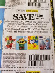 10 Coupons $1/2 Betty Crocker Fruit Shapes, Fruit By The Foot, Fruit Gushers or Fruit Roll-Ups Fruit Flavored Snacks, Mott's Fruit Flavored Snacks Or Sunkist Fruit Flavored Snacks Exp.2/29/20