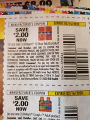 10 Coupons $2/1 Delsym 12 Hour Adult Product Exp.2/16/20