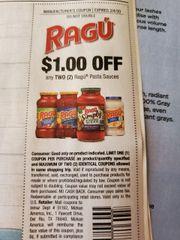 10 Coupons $1/2 Ragu Pasta Sauces Exp.2/4/20