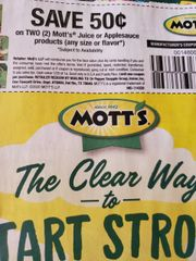 10 Coupons $.50/2 Mott's Juice or Applesauce Products Exp.3/1/20