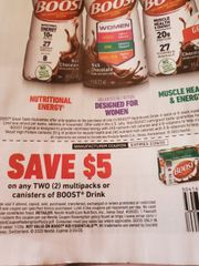 10 Coupons $5/2 Boost Drink Multipacks or Canisters Exp.2/29/20