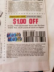 10 Coupons $1/2 Nestle Pure Life Purified Water 8oz, Multi-Packs 6-Ct+ Exp.3/8/20