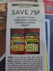 10 Coupons $.75/1 Sargento String or Stick Cheese Snack Exp.3/2/20