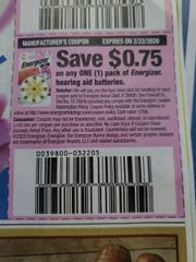10 Coupons $.75/1 Energizer Hearing Aid Batteries Exp.2/22/20