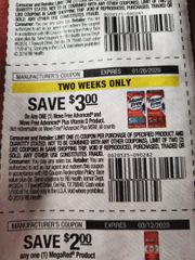 10 Coupons $3/1 Move Free Advanced and Move Free Advanced Plus Vitamin D Product Exp.1/26/20