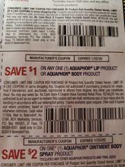 10 Coupons $1/1 Aquaphor Lip Product or Aquaphor Body Prpduct Exp.1/25/20
