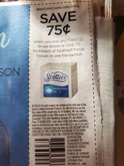 10 Coupons $.75/2 Scotties Facial Tissues Single Boxes Or (1) Multipack Exp.2/9/20