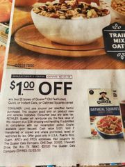 10 COupons $1/2 Quaker Old Fashioned, Quick, or Instant Oats, or Oatmeal Squares Cereal Exp.2/23/20
