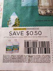 10 Coupons $.50/2 Zephyrhills Brand 100% Natural Spring Water 3-Liters Exp.3/12/20
