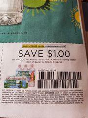 10 Coupons $1/2 Zephyrhills Brand 100% Natural Spring Water 8oz12-Packs or 700mL 6-Packs Exp.3/12/20