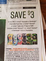 10 Coupons $3/1 Schick Disposable or Skintimate Disposable Razor Pack, Schick Xtreme5 or Schick Hydro Silk 3 Razor or Refill (Excludes Schick Xtreme3 1ct, Schick Xtreme2 & Skintimate 2 & 6ct Disposables) 2/8/20