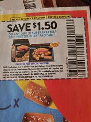 10 Coupons $1.50/1 Superpretzel Soft Pretzel Bites Product Exp.3/20/20