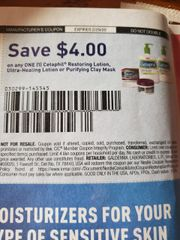 10 Coupons $4/1 Cetaphil Restoring Lotion, Ultra-Healing Lotion or Purifying Clay Mask Exp.2/29/20