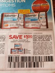 10 Coupons $1/1 Sudafed or Children's Sudafed Product Exp.2/15/20