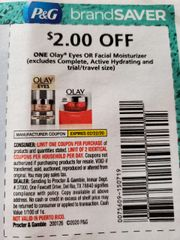 10 Coupons $2/1 Olay Eyes or Facial Moisturizer (Excludes Complete, Active Hydrating) Exp.2/22/20