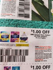 10 Coupons $1/1 Tampax Pearl, Radiant or Pure Tampons 14ct+ Exp.2/22/20
