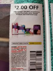 10 Coupons $2/1 Always Discreet Incontinence Product (Excludes Other Always Products) Exp.2/22/20