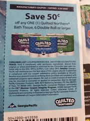 10 Coupons $.50/1 Quilted Northern Bath Tissue, 6 Double Roll+ Exp.2/26/20