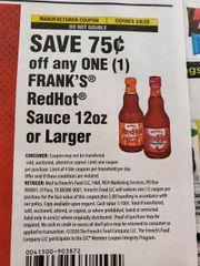 10 Coupons $.75/1 Frank's RedHot Sauce 12oz+ Exp.3/8/20